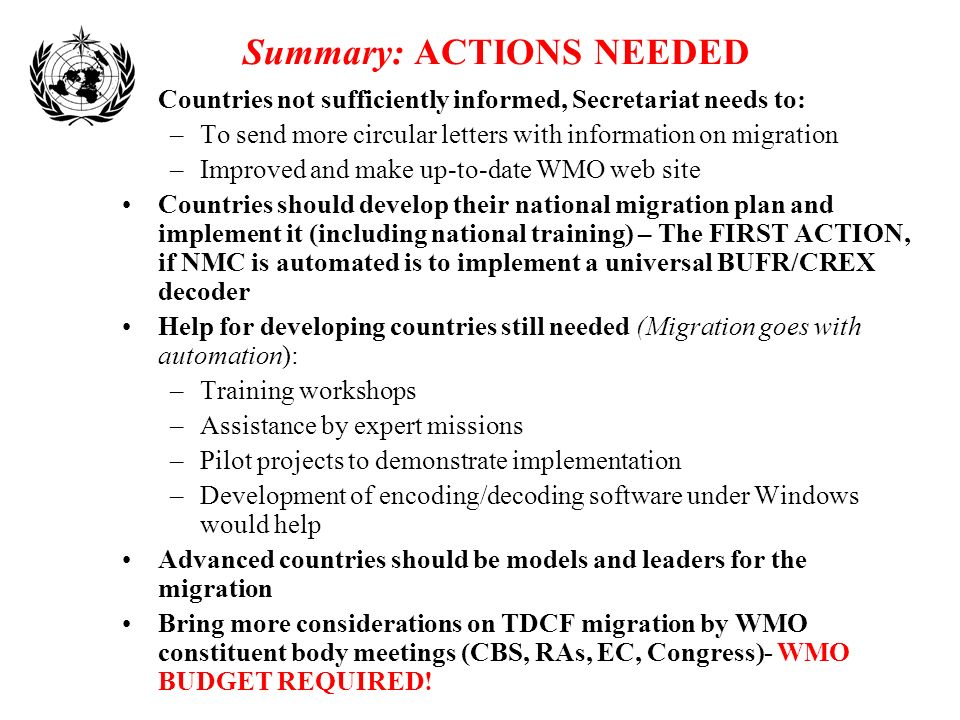 Summary: ACTIONS NEEDED