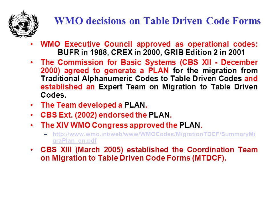 WMO decisions on Table Driven Code Forms