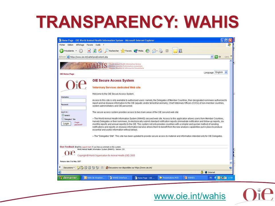TRANSPARENCY: WAHIS www.oie.int/wahis