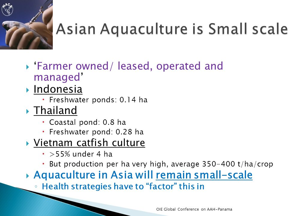 Asian Aquaculture is Small scale