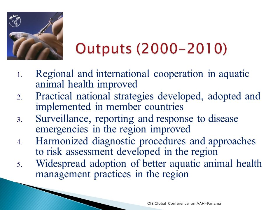 Outputs (2000-2010) Regional and international cooperation in aquatic animal health improved.