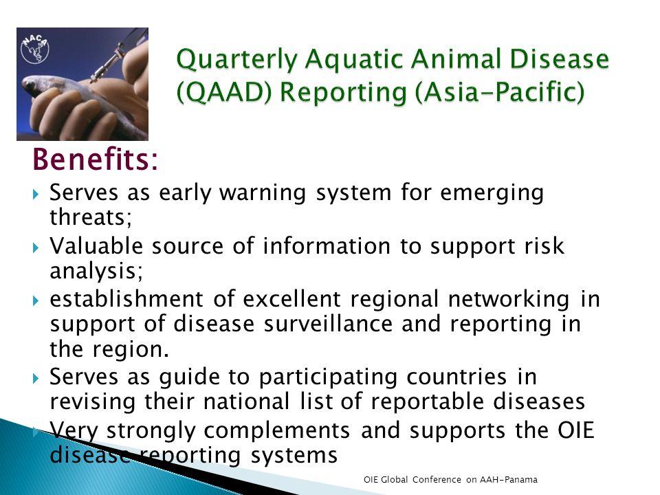 Quarterly Aquatic Animal Disease (QAAD) Reporting (Asia-Pacific)
