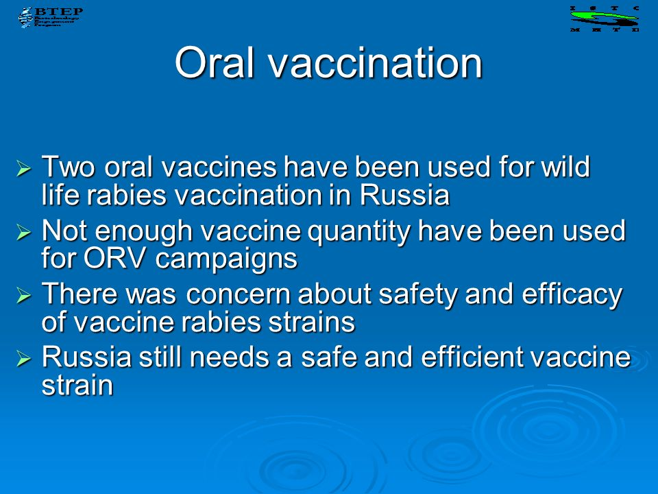 Oral vaccination Two oral vaccines have been used for wild life rabies vaccination in Russia.