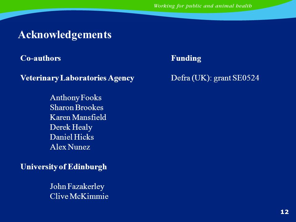 Acknowledgements Co-authors Veterinary Laboratories Agency