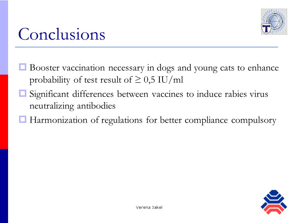Conclusions Booster vaccination necessary in dogs and young cats to enhance probability of test result of ≥ 0,5 IU/ml.