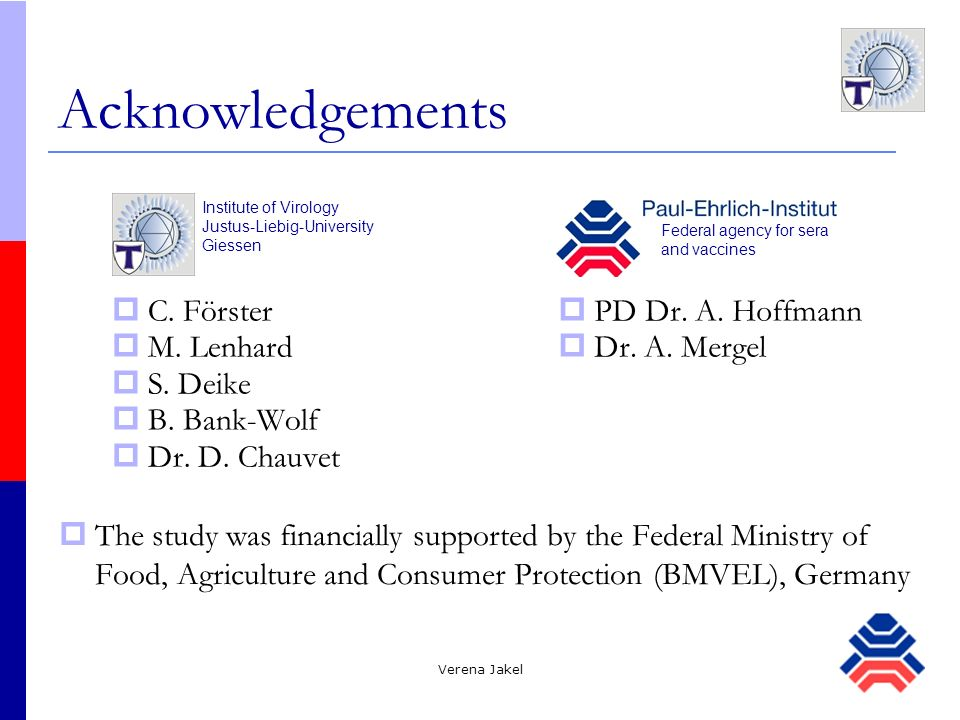 Acknowledgements C. Förster M. Lenhard S. Deike B. Bank-Wolf
