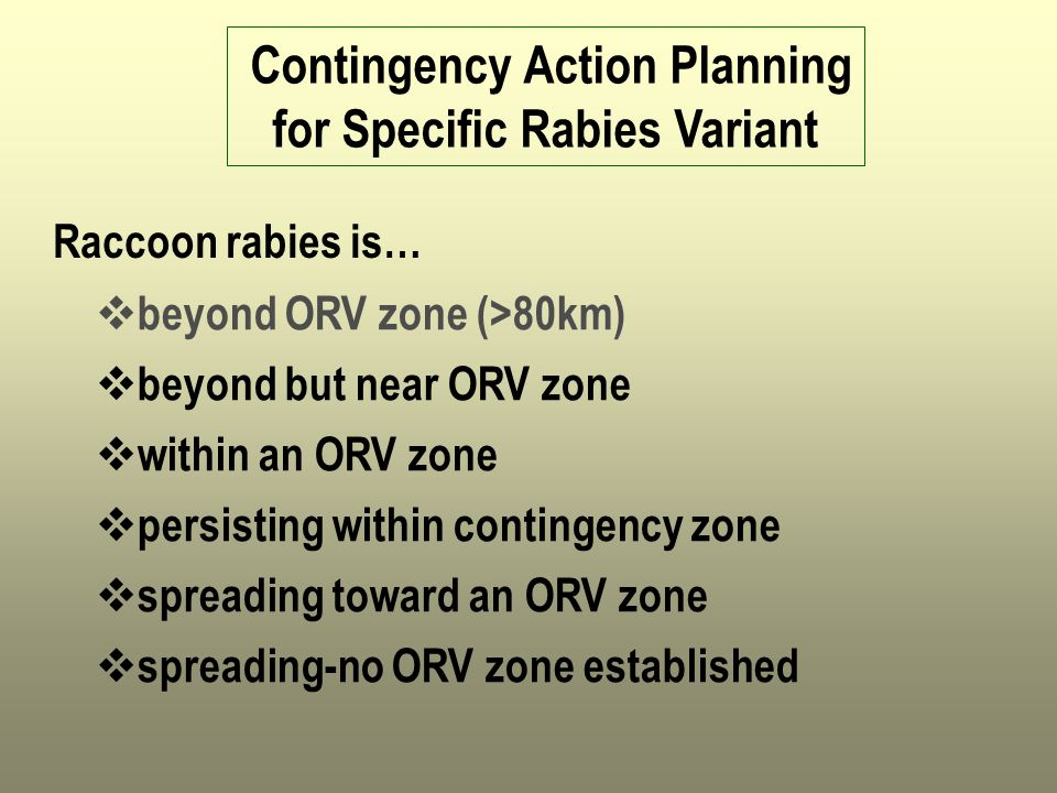 Contingency Action Planning for Specific Rabies Variant