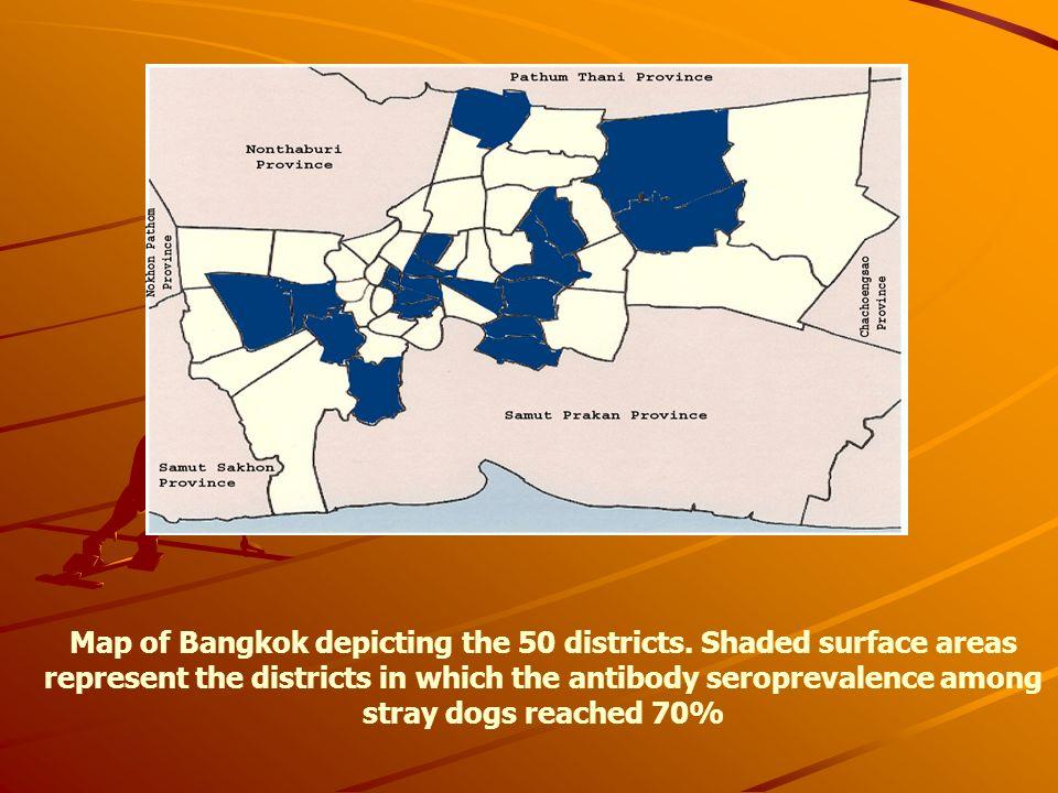 Map of Bangkok depicting the 50 districts