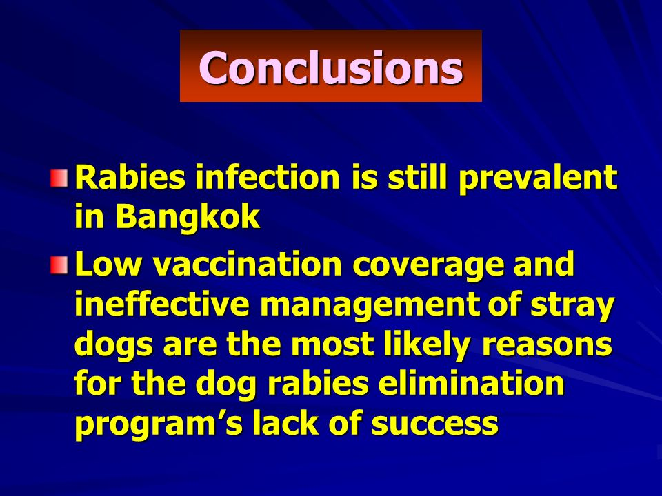 Conclusions Rabies infection is still prevalent in Bangkok