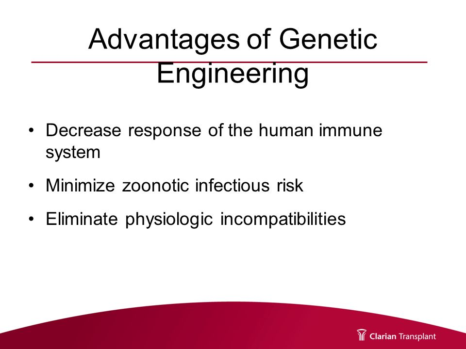 advantages of human genetic engineering Eliminating disadvantages without creating perceived advantages is how   though we're far from the point of genetic modification on human.