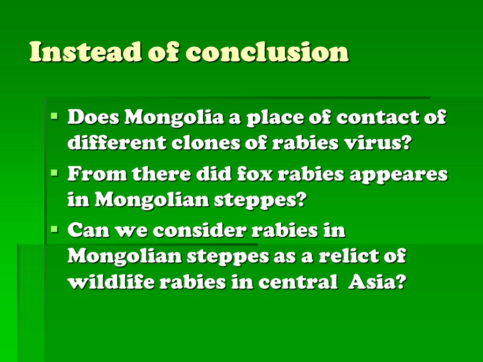 Instead of conclusion Does Mongolia a place of contact of different clones of rabies virus From there did fox rabies appeares in Mongolian steppes
