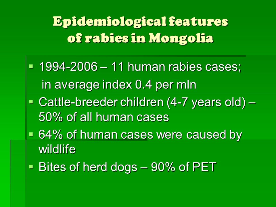 Epidemiological features of rabies in Mongolia
