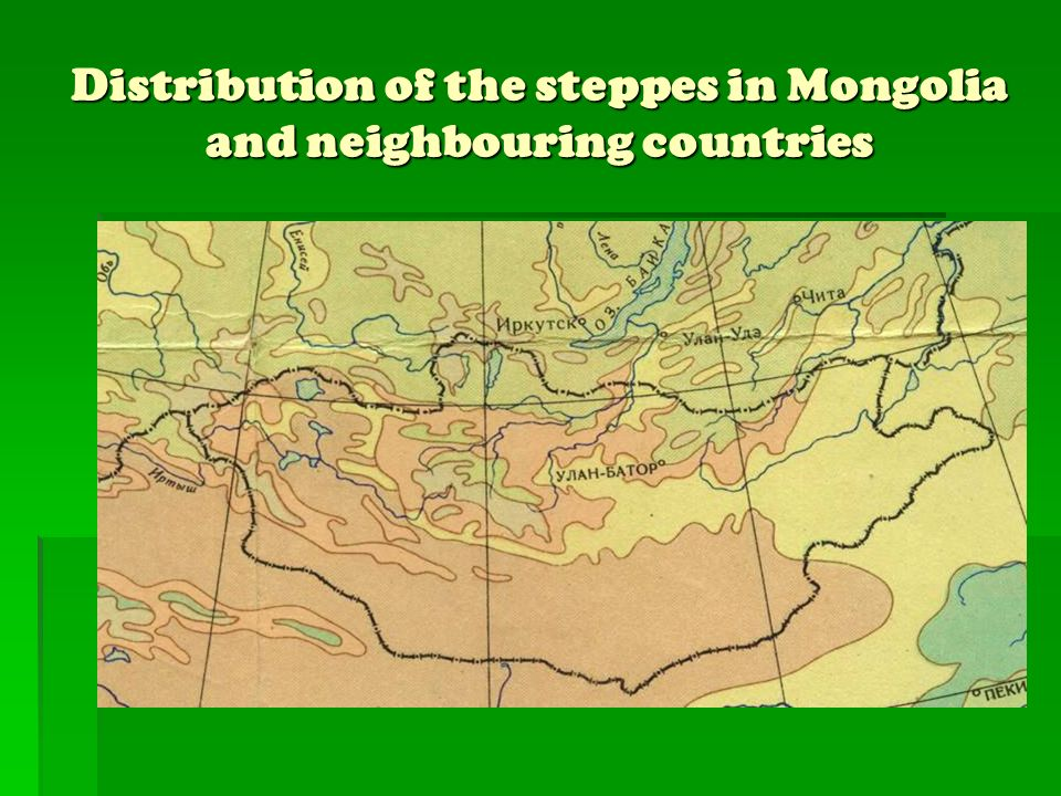 Distribution of the steppes in Mongolia and neighbouring countries