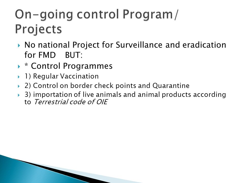 On-going control Program/ Projects