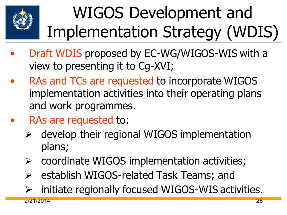 WIGOS Development and Implementation Strategy (WDIS)