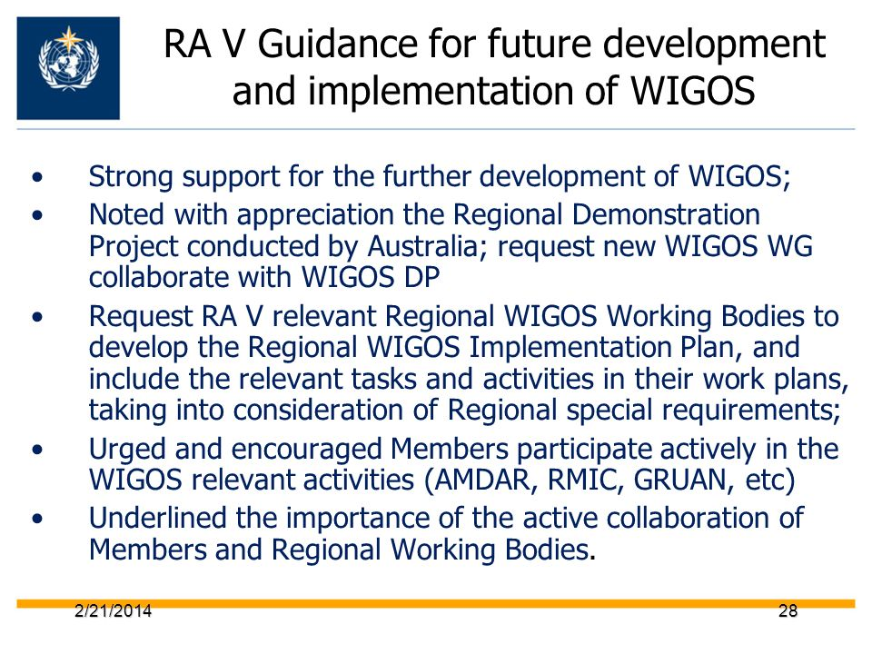 RA V Guidance for future development and implementation of WIGOS