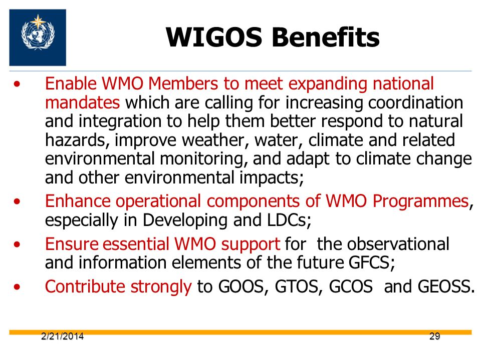 WIGOS Benefits