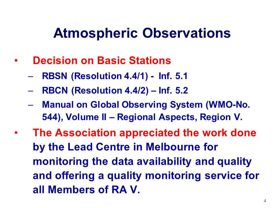 Atmospheric Observations