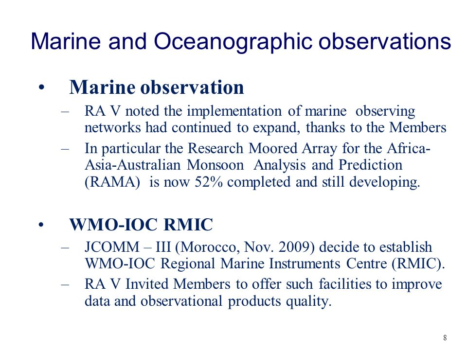 Marine and Oceanographic observations