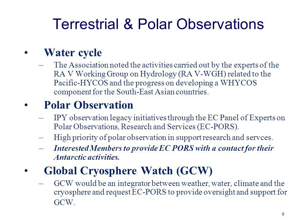 Terrestrial & Polar Observations