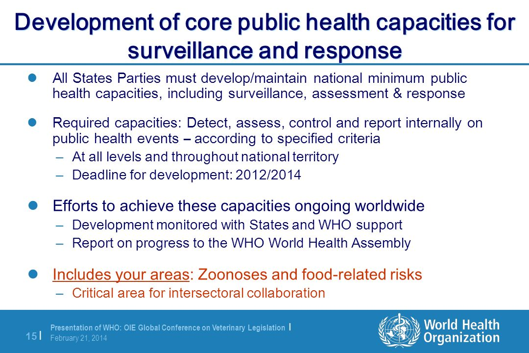 Development of core public health capacities for surveillance and response