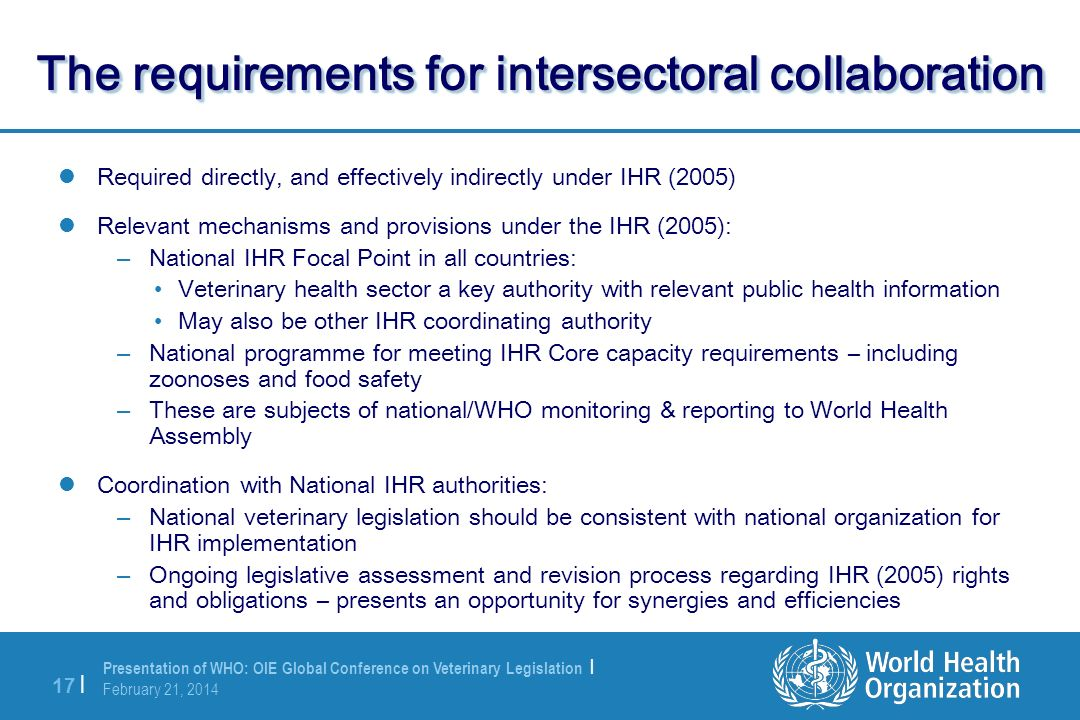The requirements for intersectoral collaboration