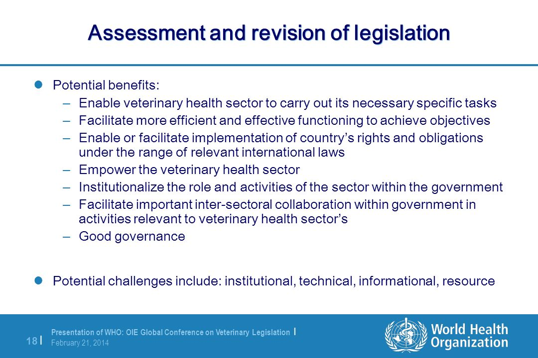 Assessment and revision of legislation