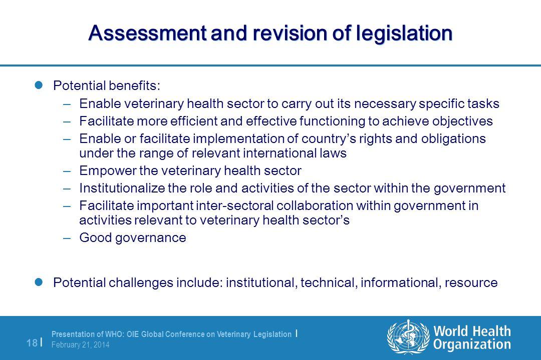 Assessment and revision of legislation