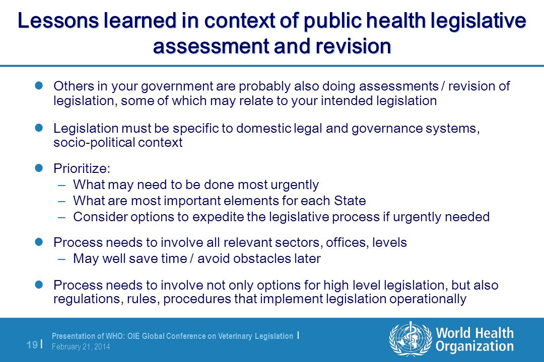 Lessons learned in context of public health legislative assessment and revision