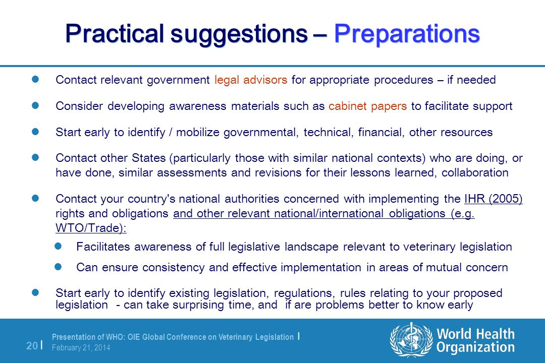 Practical suggestions – Preparations