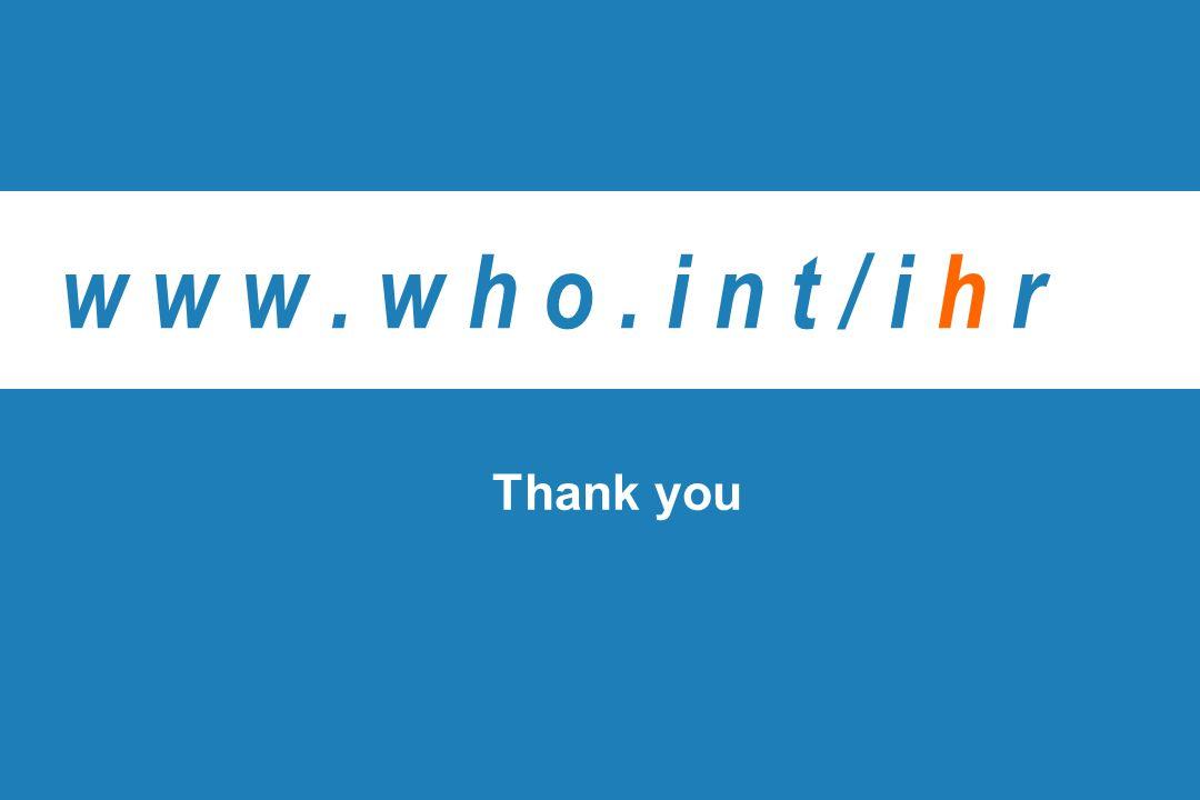 w w w . w h o . i n t / i h r Thank you