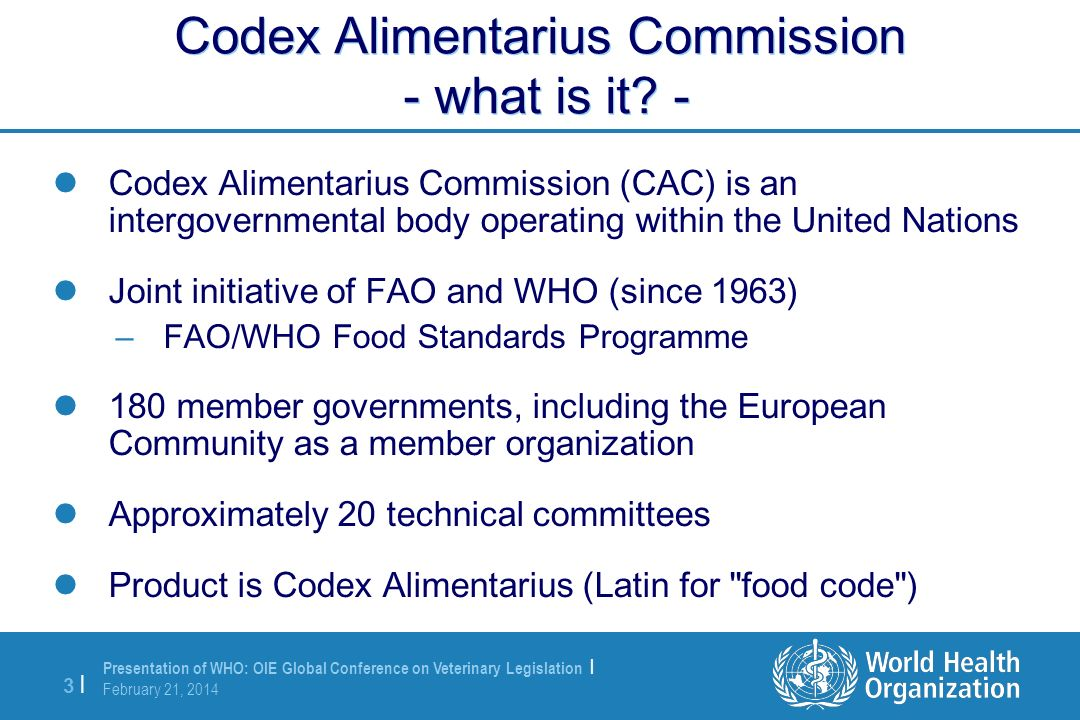 Codex Alimentarius Commission - what is it -