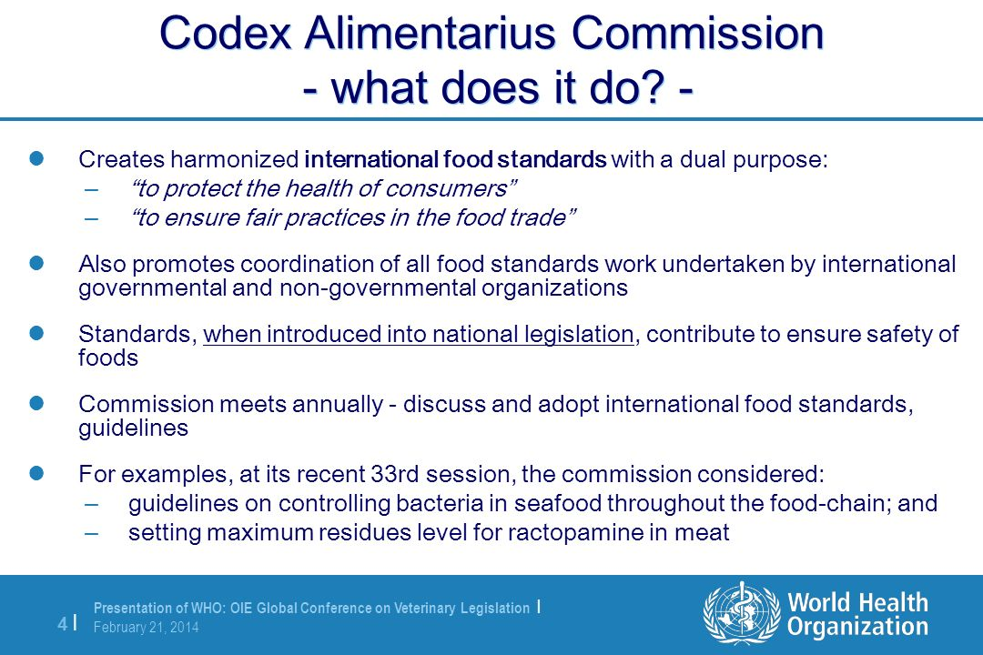 Codex Alimentarius Commission - what does it do -