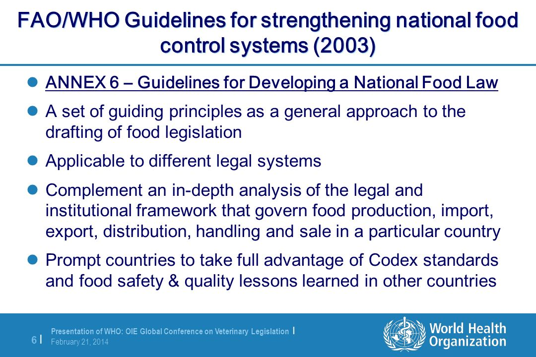 FAO/WHO Guidelines for strengthening national food control systems (2003)