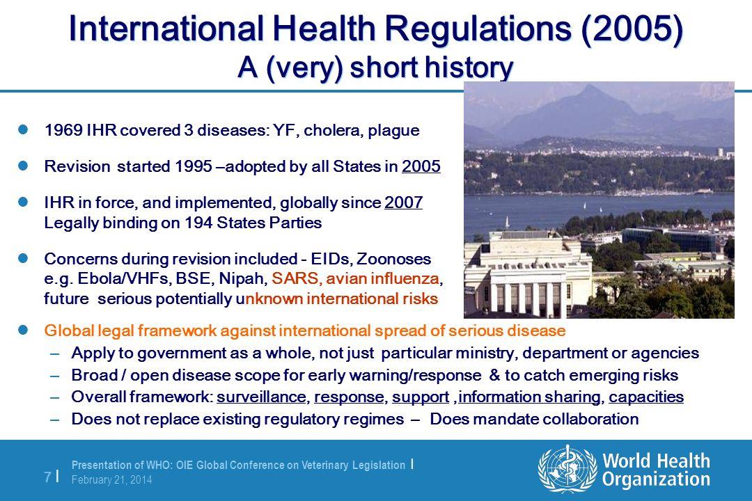 International Health Regulations (2005) A (very) short history