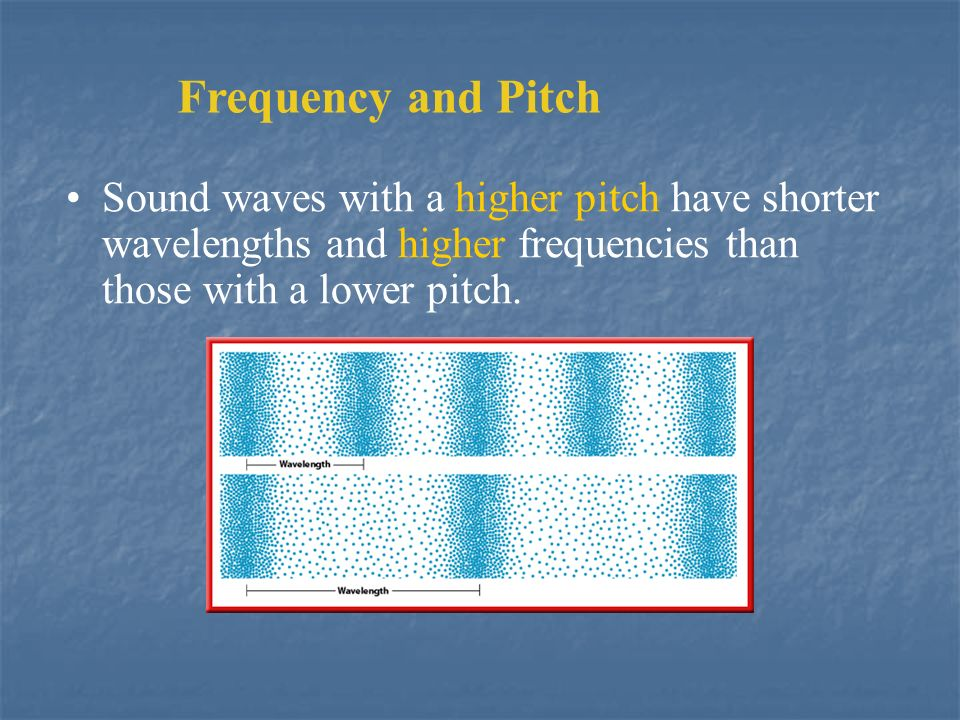 Frequency and Pitch Sound waves with a higher pitch have shorter wavelengths and higher frequencies than those with a lower pitch.