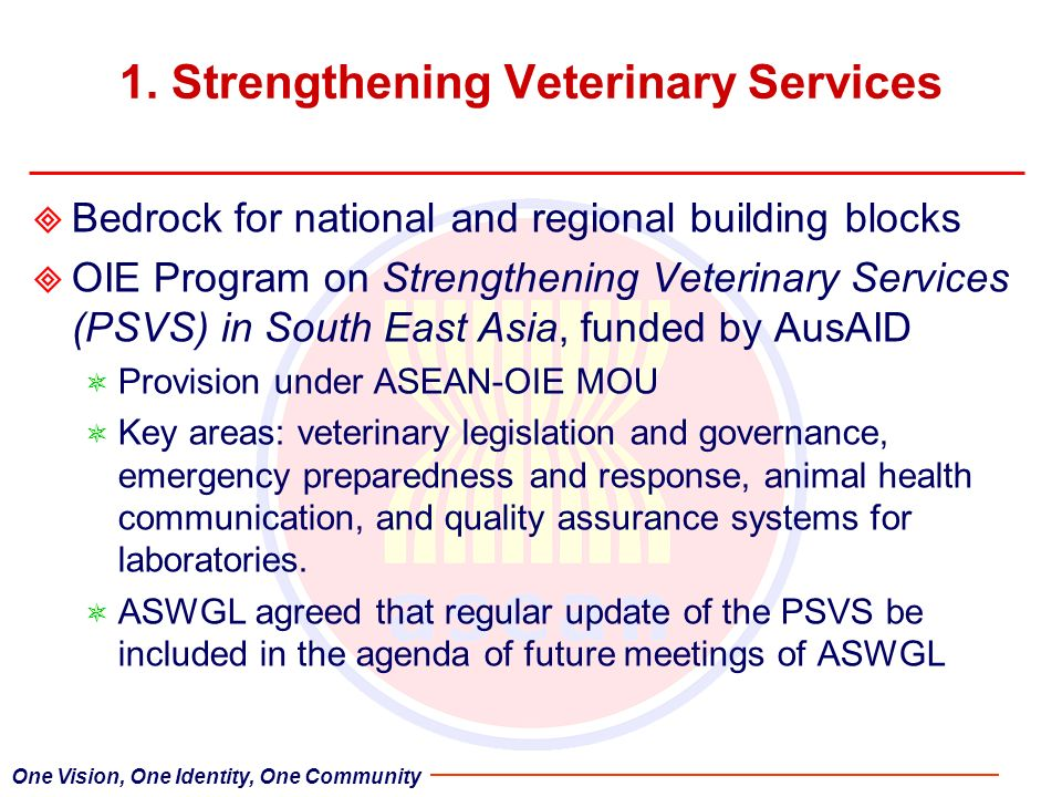 1. Strengthening Veterinary Services