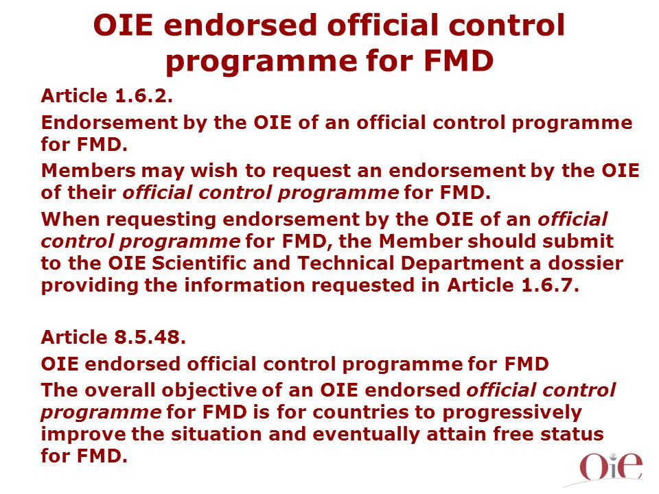 OIE endorsed official control programme for FMD