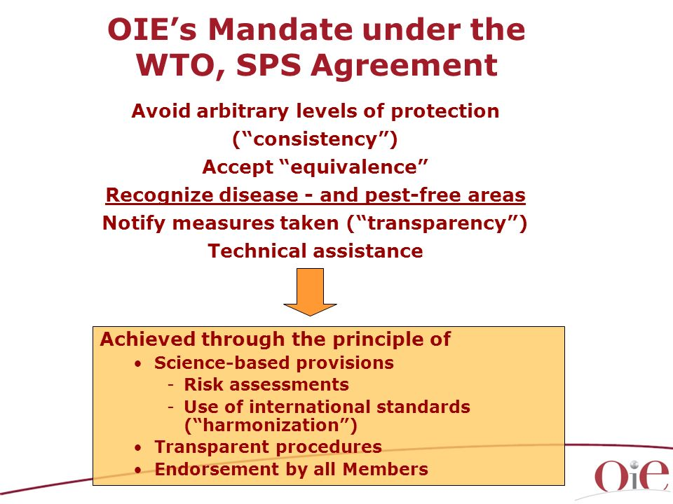 OIE's Mandate under the WTO, SPS Agreement