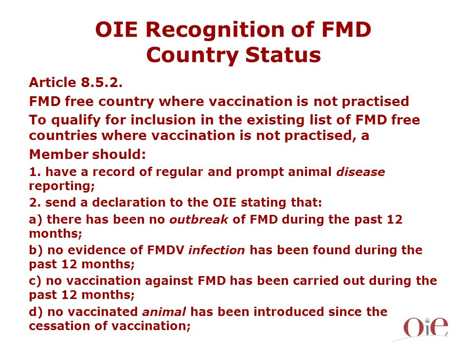 OIE Recognition of FMD Country Status