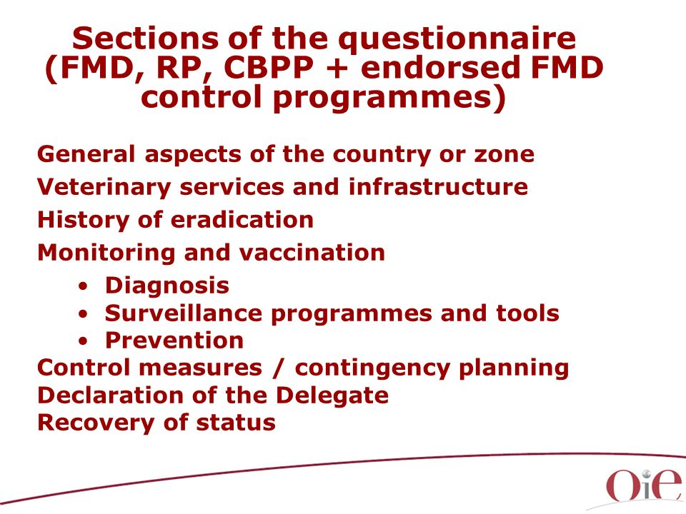 Sections of the questionnaire (FMD, RP, CBPP + endorsed FMD control programmes)