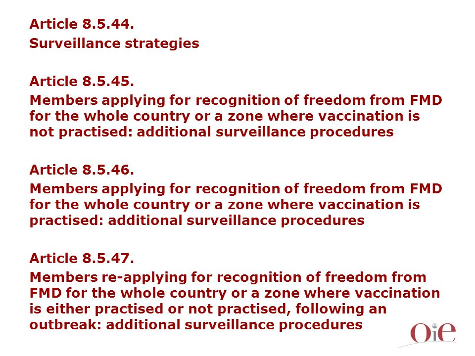 Article 8. 5. 44. Surveillance strategies Article 8. 5. 45