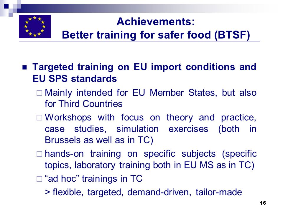 Achievements: Better training for safer food (BTSF)