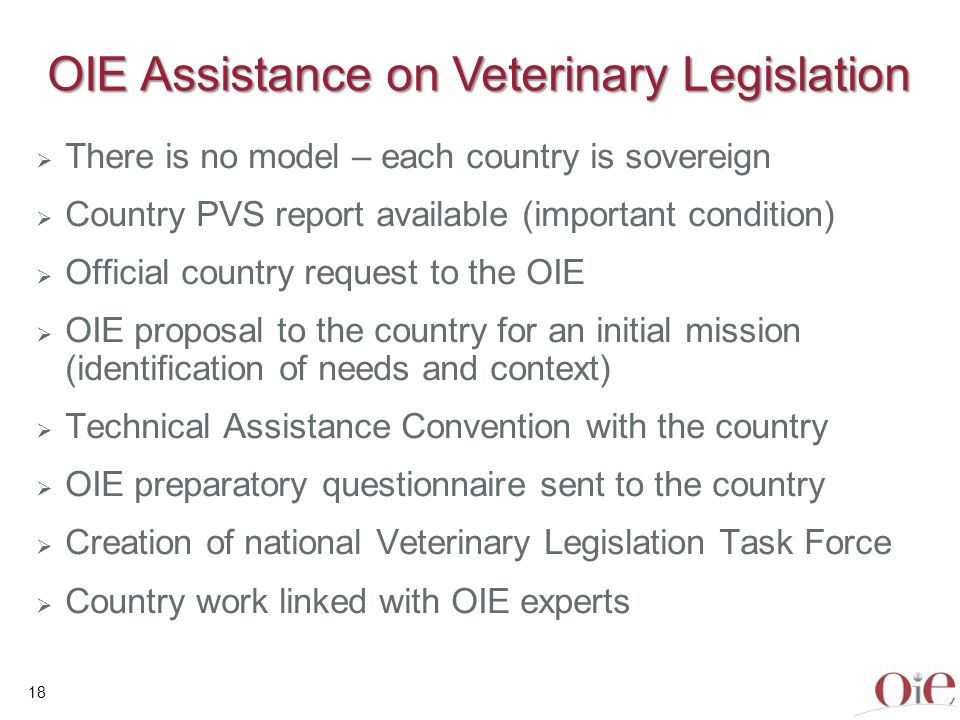 OIE Assistance on Veterinary Legislation