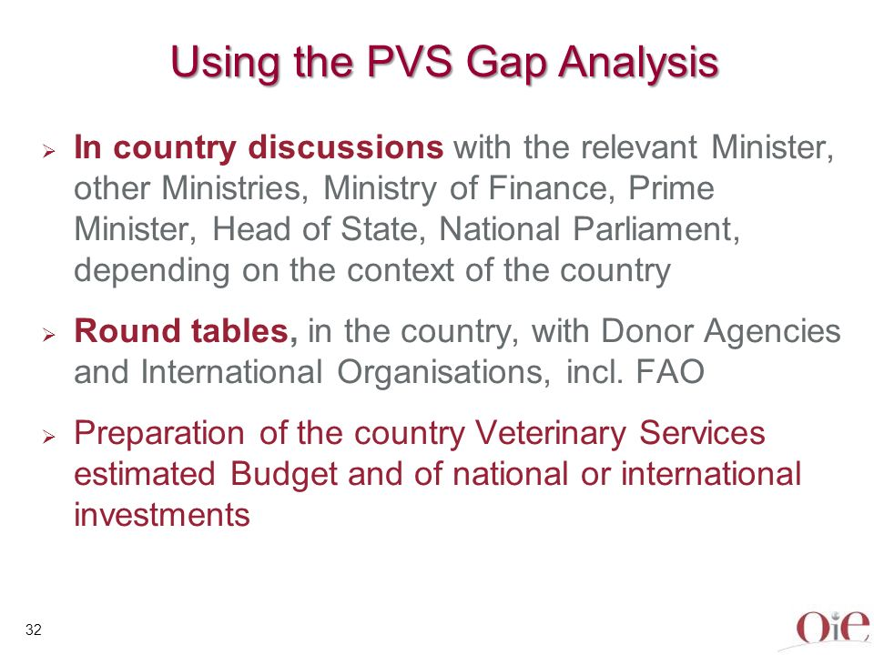 Using the PVS Gap Analysis