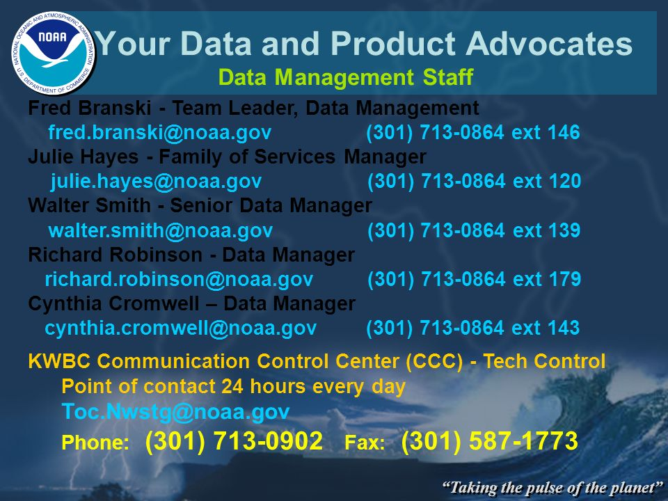 Your Data and Product Advocates Data Management Staff