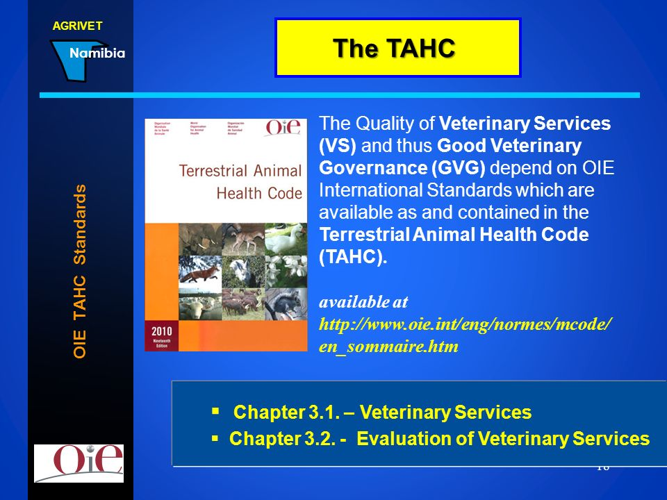 The TAHC Chapter 3.1. – Veterinary Services