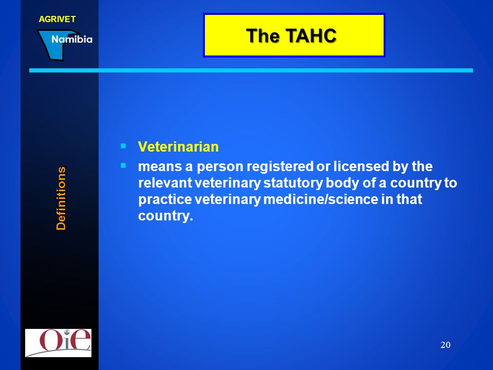 TAHC Definitions The TAHC
