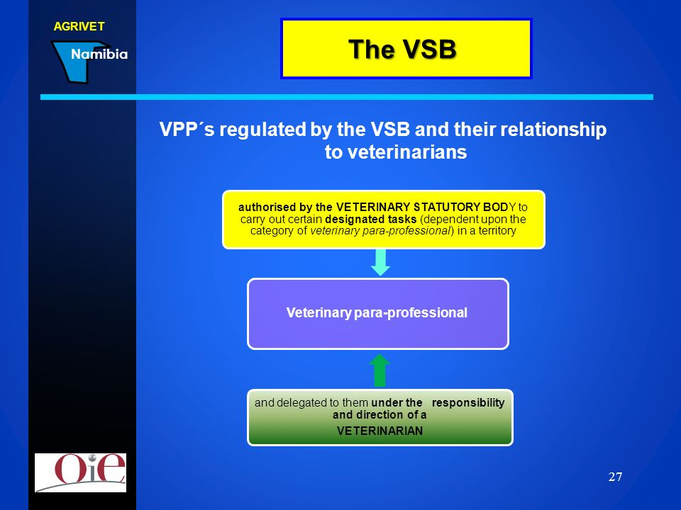 VPP´s regulated by the VSB and their relationship to veterinarians