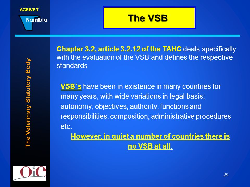 The VSB Chapter 3.2, article 3.2.12 of the TAHC deals specifically